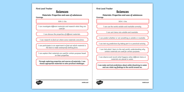 CfE Sciences (Materials) First Level Child Friendly Tracking