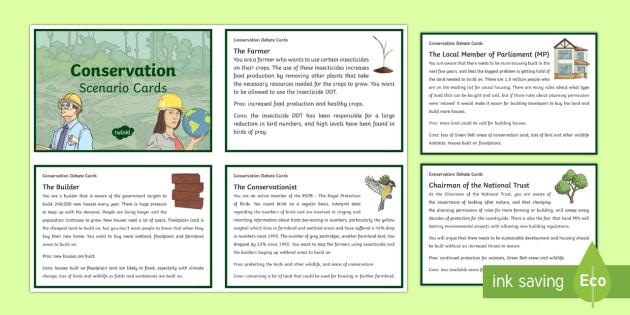 KS2 Conservation Scenario Question Cards - KS2  Big Birdwatch, RSPB, school, bird, bird watch, conservation, discussion, debate cards, conserva