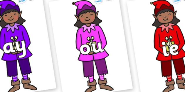 Phase 5 Phonemes on Girl Elves (Multicolour) - Phonemes, phoneme, Phase 5, Phase five, Foundation, Literacy, Letters and Sounds, DfES, display