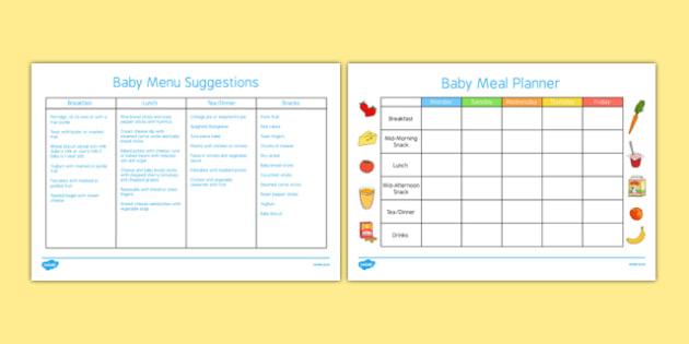 Baby Meal Planner and Menu - Food, baby, weaning, solids, meals, menu, breakfast, lunch, dinner, tea, snack