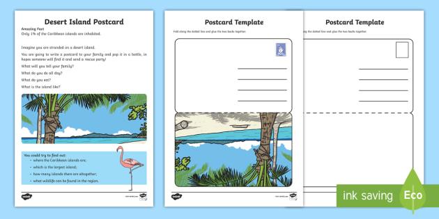 Desert Island Postcard Writing Activity Sheet  - Amazing Fact Of The Day, activity sheets, powerpoint, starter, morning activity, January, KS1 amazin