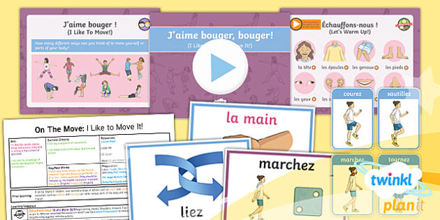 PlanIt - French Year 4 - On the Move Lesson 4: I Like to Move It Lesson Pack - french, languages, movement, direction, action