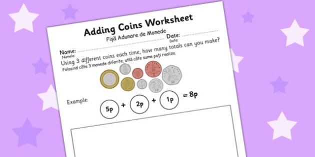 Adding Coins Worksheet Romanian Translation - romanian, adding