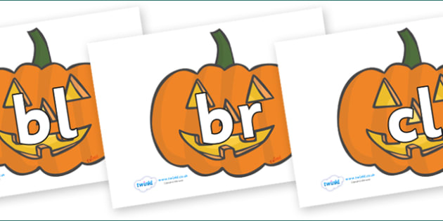 Initial Letter Blends on Jack O'Lanterns - Initial Letters, initial letter, letter blend, letter blends, consonant, consonants, digraph, trigraph, literacy, alphabet, letters, foundation stage literacy