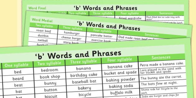 B' Word List - b, word list, word, list, b sound, sound, letter
