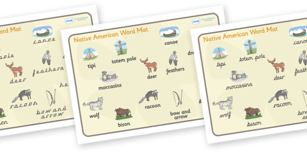 Native American Word Mat - Native Americans, word mat, writing aid,  Native Americans, indian, moccasin, bow and arrow, dream catcher, wild west