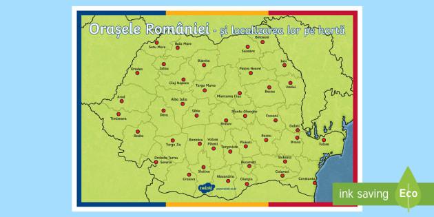 Orasele Romaniei pe harta Planșă format A4 - hartă, România, materiale, materiale didactice, română, romana, material, material didactic, Rom