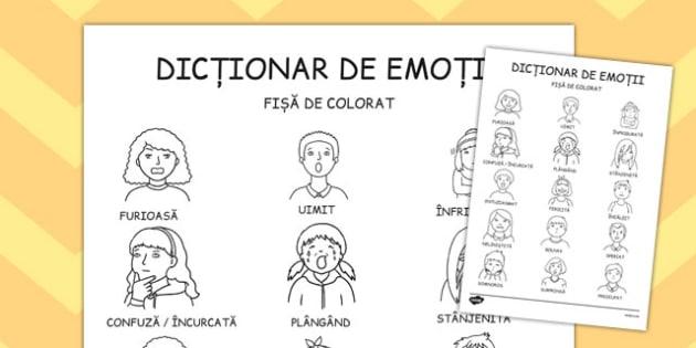 Dicționar ilustrat de emoții - Fișă pentru colorat - dicționar, alfabet, emoții, de colorat, fișe de lucru, dezvoltare emoțională, frică, inteligență emoțională, materiale, materiale didactice, română, romana, material, material didactic