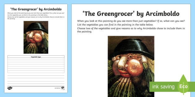 Vegetables by Arcimboldo Activity Sheet - art appreciation, Vegetables, Arcimboldo, activity sheet, work sheet, artist,Irish, worksheet