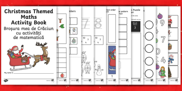 Christmas Themed Maths Activity Book English/Romanian - Christmas Themed Maths Activity Book - christmas, maths, activity, chritmas, chriatmas, christms, ch