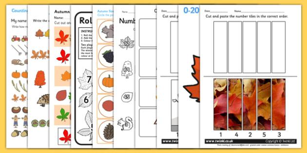 Autumn Themed Maths Activity Pack - numeracy, seasons, weather