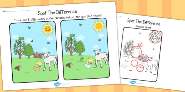 Spring Spot the Difference Activity - seasons, activities, games