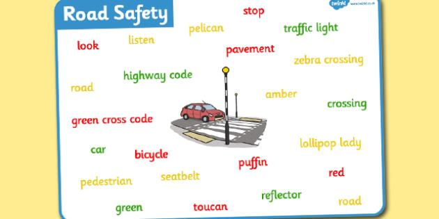 Road Safety Word Mat - road safety, word mat, mat, words, road