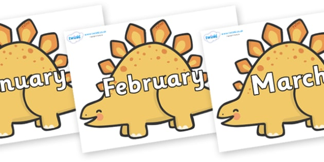 Months of the Year on Stegosarus Dinosaurs - Months of the Year, Months poster, Months display, display, poster, frieze, Months, month, January, February, March, April, May, June, July, August, September