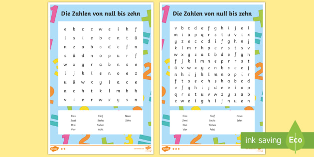 Numbers 0 to 10 Word Search German - Numbers, Counting, German, word search, writing, words, maths, numeracy, activity, game, mfl, ks1, k