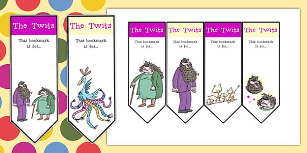Editable Bookmarks to Support Teaching on The Twits - bookmarks, the twits, roald dahl