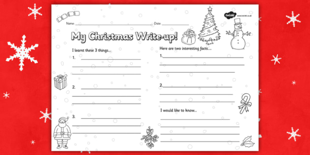 Christmas Write Up Worksheet - worksheets, literacy, writing