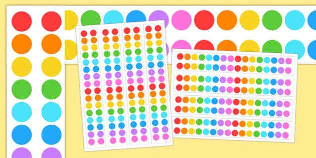 Multicoloured Polka Dot A3 Display Borders - display borders, display