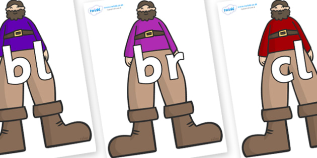 Initial Letter Blends on Giants - Initial Letters, initial letter, letter blend, letter blends, consonant, consonants, digraph, trigraph, literacy, alphabet, letters, foundation stage literacy