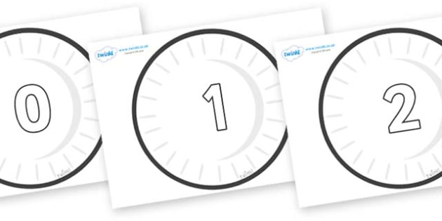 Numbers 0-31 on Circles (Plain) - 0-31, foundation stage numeracy, Number recognition, Number flashcards, counting, number frieze, Display numbers, number posters
