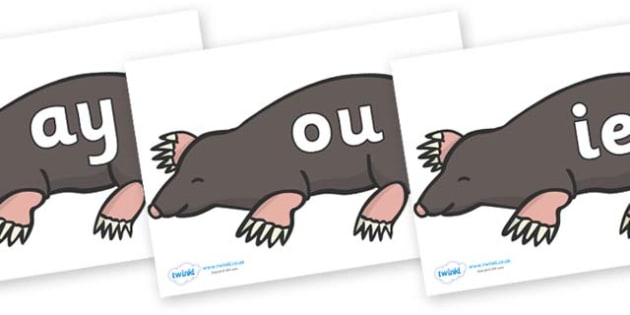 Phase 5 Phonemes on Moles - Phonemes, phoneme, Phase 5, Phase five, Foundation, Literacy, Letters and Sounds, DfES, display