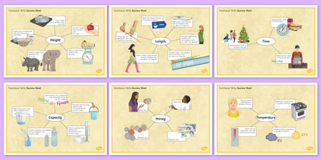 Functional Skills Measure Success Sheets - KS4, KS5, adult education, maths, numeracy, functional skills, SEN, assessment, objectives