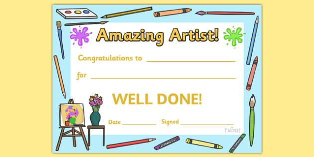 Amazing Artist Award Certificate - amazing artist award certificate, amazing artist, amazing, artist, art, Arts, drawing, draw, painting, creative, creativity