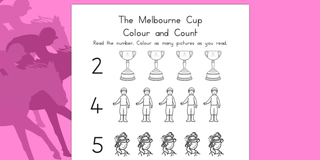 The Melbourne Cup Count and Colour Activity Sheet - australia, melbourne cup, count, colour, worksheet