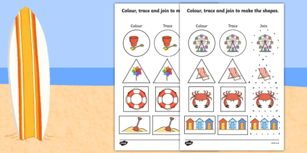 Seaside 2D Shape Colour Trace Join - seaside, 2d shape, trace, colour, join, dots