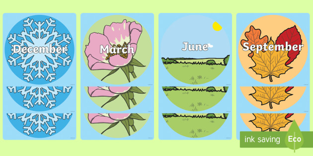 Months of the Year on Seasonal Images Display Cut-Outs - Seasons, season word cards, winter, autumn, summer, spring, display, months of the year, months, sea