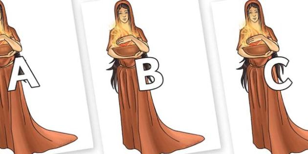 A-Z Alphabet on Hestia - A-Z, A4, display, Alphabet frieze, Display letters, Letter posters, A-Z letters, Alphabet flashcards