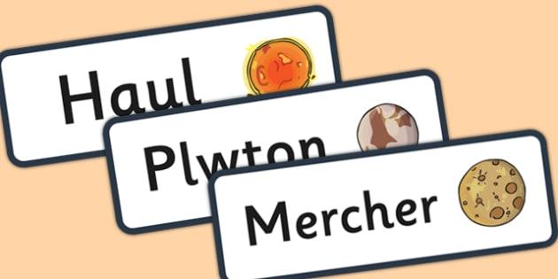 Space Word Cards Welsh Translation - galaeth, lleuad, y ddaear
