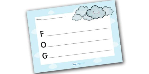 Fog Acrostic Poem Template - fog acrostic poem, weather acrostic poems, weather and seasons, fog acrostic template, fog poem template, fog, weather