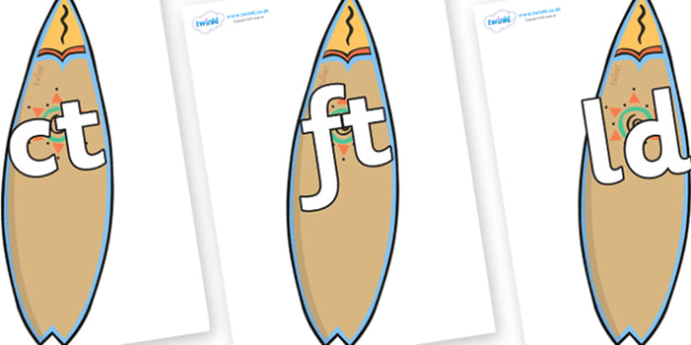 Final Letter Blends on Surf Boards - Final Letters, final letter, letter blend, letter blends, consonant, consonants, digraph, trigraph, literacy, alphabet, letters, foundation stage literacy