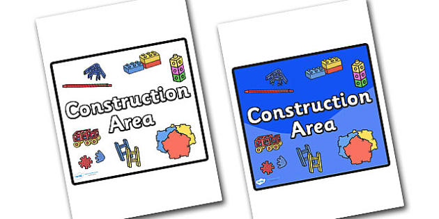Construction Area Sign - sign, display sign, area display sign, area sign, area, classroom areas, school areas, classroom area signs, topic signs, topic area signs