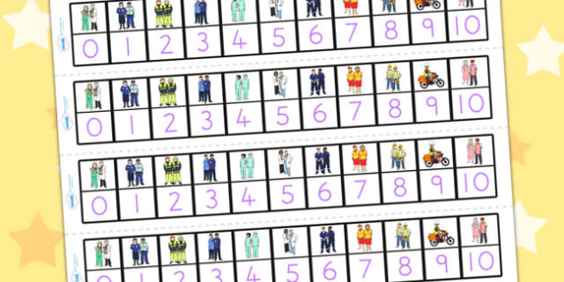 People Who Help Us Number Track 1 - 10 - count, counting, maths