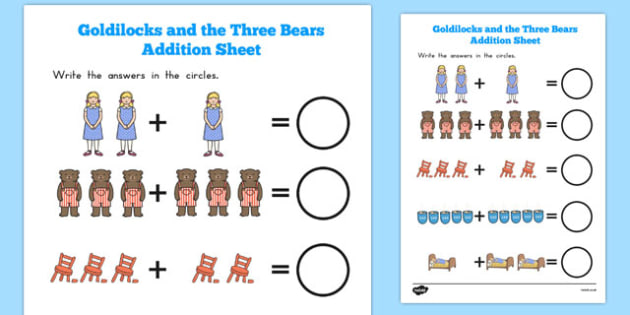 Goldilocks and the Three Bears Addition Sheet - australia, maths, counting, template, traditional tales, KS1, key stage 1, adding, more than