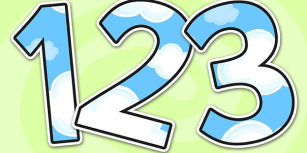 Day Sky Themed A4 Display Numbers - day sky themed A4 display numbers, display numbers, day sky themed, sky display numbers, display numbering