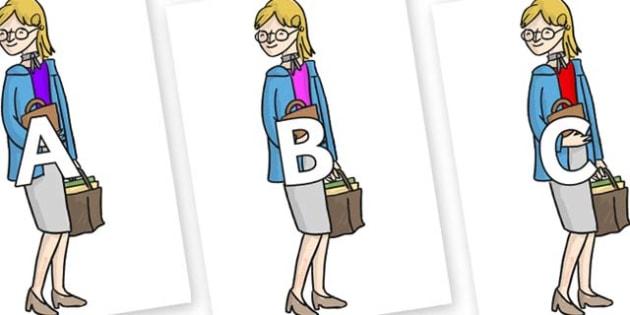 A-Z Alphabet on Miss Honey to Support Teaching on Matilda - A-Z, A4, display, Alphabet frieze, Display letters, Letter posters, A-Z letters, Alphabet flashcards