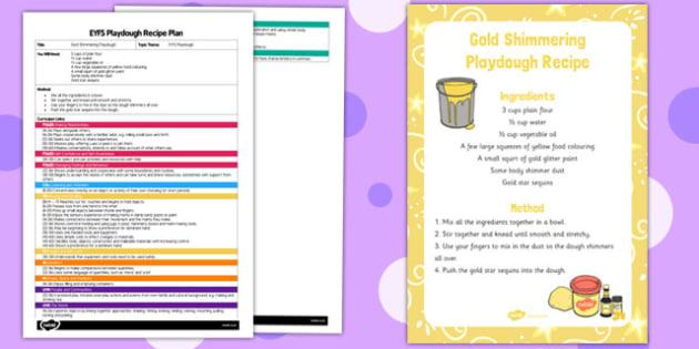 EYFS Gold Shimmering Playdough Plan and Recipe Pack - playdough