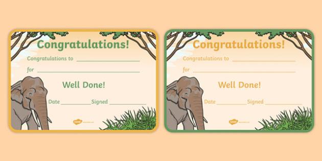 Elephant Themed Certificates - elephant, certificates, awards, rewards, praise
