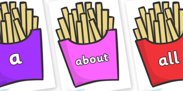 100 High Frequency Words on French Fries - High frequency words, hfw, DfES Letters and Sounds, Letters and Sounds, display words