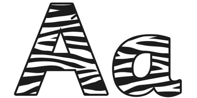 Zebra Pattern Display Lettering (Small) - safari, safari lettering, safari display lettering, zebra lettering, zebra pattern lettering, zebra, zebra skin