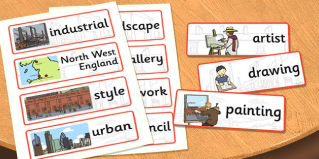 LS Lowry Word Cards - LS Lowry, Lowry, word cards, topic cards, themed word cards, themed topic cards, key words, key word cards, keyword, writing aid