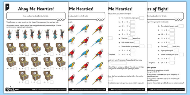 Differentiated Pirate Multiples of 8 Activity Sheet Pack - 8 x table, 8s, multiply by 8, divide by 8, array, related facts, commutative, differentiated activity, pirate multiplication, worksheet