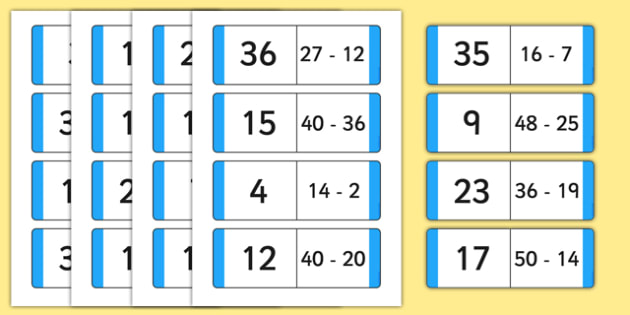Subtraction Loop Cards to 50 - subtraction, loop cards, 50, loop, cards, subtract