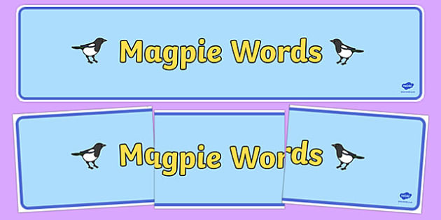 Magpie Words Display Banner - magpie, words, display, banner, poster, sign, shiny