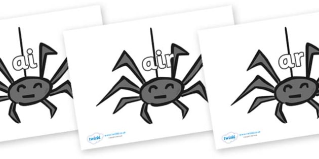 Phase 3 Phonemes on Spiders - Phonemes, phoneme, Phase 3, Phase three, Foundation, Literacy, Letters and Sounds, DfES, display