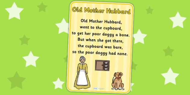 Old Mother Hubbard Nursery Rhyme Poster - rhymes, poems, display