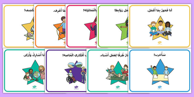 Star Themed Characteristics of Effective Learning Display Posters Arabic-Arabic